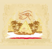 Vintage background  with pyramids giza Royalty Free Stock Photo
