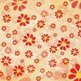 Vintage red flowers over old paper background Royalty Free Stock Photos