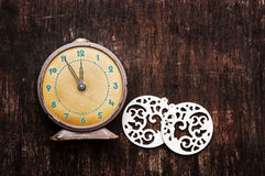 Vintage background with retro alarm clock Stock Image
