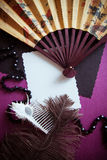 Vintage background with retro  fan Stock Photos