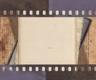 Vintage background with retro paper, newspaper and old film stri. Vintage background with aged retro paper, newspaper and old film strip Stock Photos