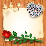 Vintage background with rose and heart Stock Images