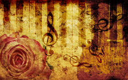 Vintage background with rose and notes. Vintage grunge background with rose and music notes Royalty Free Stock Photography