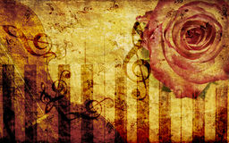 Vintage background with rose and notes Stock Photo