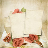 Vintage background with rose and old cards Royalty Free Stock Photography