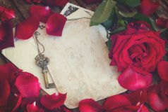 Vintage background with rose petals  and key Royalty Free Stock Photos