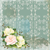 Vintage background  with roses. Stock Photos