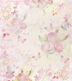 Vintage  background with roses and butterflies Royalty Free Stock Images