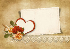 Vintage background with roses and heart.Valentines card. Royalty Free Stock Images