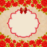 Vintage background with roses. Invitation, greeting card template. Vintage background with red roses. Invitation, greeting card template Royalty Free Stock Photos