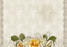 Vintage background with a roses and lace Stock Photography