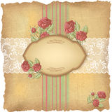 Vintage background with roses and lace. Old paper Stock Photo