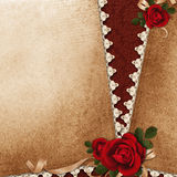 Vintage background with roses, lace and ribbon Royalty Free Stock Photography