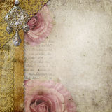 Vintage background with  roses, lace, text Royalty Free Stock Photography