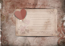 Vintage background with roses and old card Stock Photography