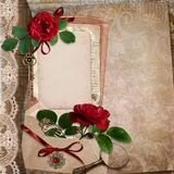 Vintage background with roses, old cards, letters, vintage accessories Royalty Free Stock Images