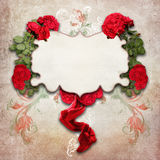 Vintage background with roses. On old paper structure royalty free stock image
