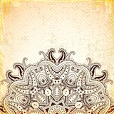 Vintage background with round oriental ornament. Vintage vector background with round oriental ornament. Hand drawn illustration Royalty Free Stock Image