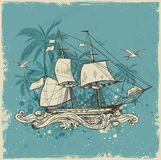 Vintage background with sailing vessel Royalty Free Stock Photo