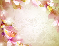 Vintage background. Scrap background with abstract leaves stock illustration
