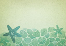 Vintage background with sea pattern. Vintage background with sea starfish and pebbles Stock Images