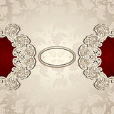 Vintage background with seamless pattern in pearly beige and red Royalty Free Stock Photography