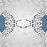 Vintage background with seamless pattern in silver blue Royalty Free Stock Photo