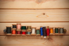 Vintage Background with Sewing kit. bobbins thread Stock Image