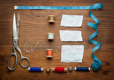 Vintage Background with sewing tools Royalty Free Stock Image