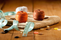 Vintage Background with sewing tools Stock Photos
