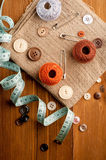 Vintage Background with sewing tools Stock Image