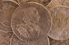 Vintage background silver ruble coin 1722 Russian emperor Peter A. Autocrat of all Russia Stock Image
