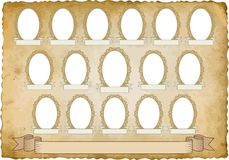 Vignette. Vintage background with sixteen frames for pictures - transparent space insert Stock Photo