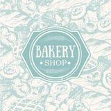 Vintage background with sketch bakery.  stock illustration