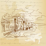 Vintage background with a sketch of the city Royalty Free Stock Photo