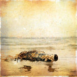 Vintage background SMS message in an old bottle covered with she Royalty Free Stock Photo