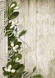 Vintage background with spring flowers on wood Stock Image