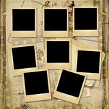 Vintage background with stack of old polaroid frame. Vintage shabby photo-album with polaroid-frame and with the space for text or photo Royalty Free Stock Photo