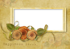 Vintage background with stamp-frame and roses Royalty Free Stock Photos