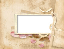 Vintage background with stamp-frames. Vintage elegant background with space for text or photo for congratulation to the holiday Stock Photography