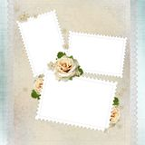 Vintage background with stamp frames, beige roses Stock Images