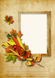 Vintage background with stamp-frames and pencils Stock Images