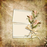 Vintage background with stamp-frames and roses Stock Images