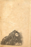 Vintage background with steam locomotive. Scan of real old paper combined with photo of steam locomotive taken by author stock photography