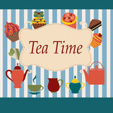 Vintage  Background of Tea Time - Illustration Royalty Free Stock Photo
