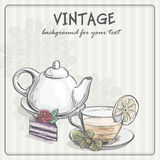 Vintage background with tea and the torus Stock Photo