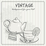 Vintage background with tea and the torus Royalty Free Stock Image