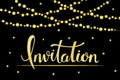 Vintage background template with hand written lettering Invitation and hanging bulb garlands Stock Photography