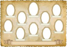 Vignette. Vintage background with ten frames for pictures - transparent space insert Royalty Free Stock Photos