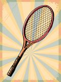 Vintage background with tennis racquet Stock Images